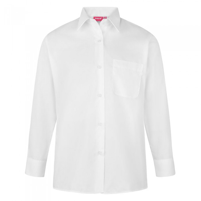 3dbfaf32 Girls Long Sleeve School Blouse - School Uniform 247 | Girls School Uniform  | White | Sky Blue