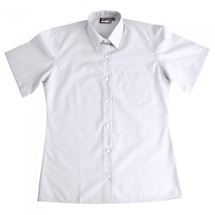 3104f6e1dae Girls Short Sleeve School Blouse - School Uniform 247 | Girls School Uniform  | White | Sky Blue