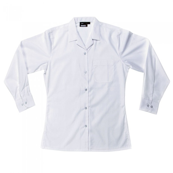 2a7ee0bb5 Long Sleeve Revere Collar School Blouse - School Uniform 247 | Girls School  Uniform | White | Sky Blue