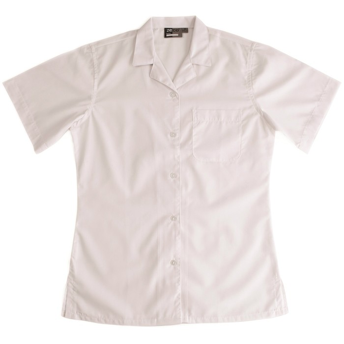 Short Sleeve Revere Collar School Blouse