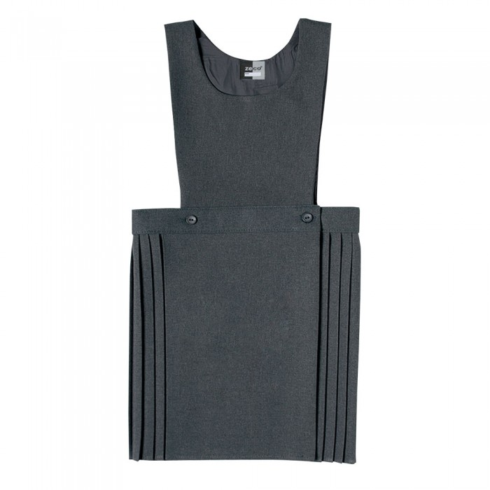 2b5385c7cb Bib Pinafore with wrapover knife pleat skirt. 2 buttons at the front to  retain shape.